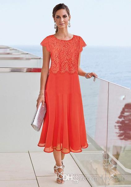Laranja Chá Comprimento Mãe Do Casamento Vestidos 2019 Praia Casamento Lace Top Mães Desgaste Formal Plus Size Evening Gowns Cap Manga