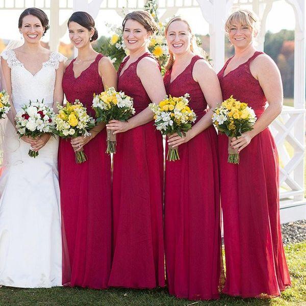 Uzun Altın Dantel Nedime Elbiseler Nedime Elbisesi Artı Boyutu Brautjungfernkleider vestidos de damas de onur abiti da damigella d'onore