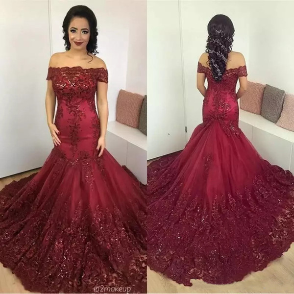 Custom Burgundy Mermaid Lace Evening Dresses 2019 with Beaded Appliques Court Train Arabic African Corset Back Formal Prom Party Gowns