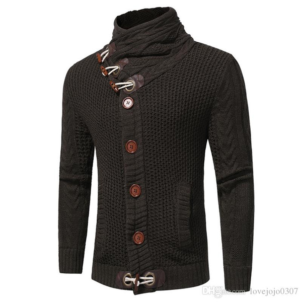 Outono Inverno Moda Sweater Cardigan Casual Brasão homens soltos Fit Aqueça tricô roupas camisola Coats Mens Botão Top