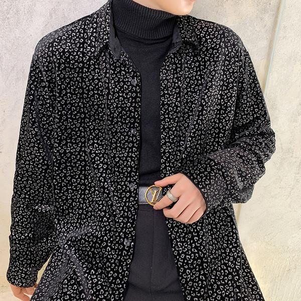 men vintage fashion long sleeve velvet thick shirt cardigan male loose casual streetwear hip hop dress shirt autumn winter