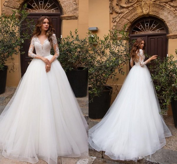 2019 Wedding Dresses V Neck Long Sleeves Lace Appliques Bridal Gowns Summer A Line Wedding Dress robe de mariée