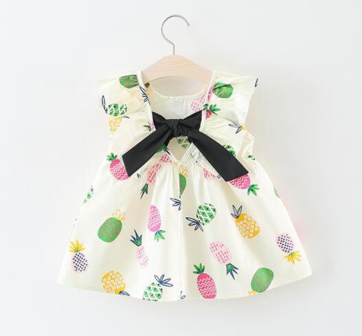 Ropa de diseñador para niños Niñas Nueva niña vestido sin mangas con volantes v-back con lazo 100% algodón vestido de niña pequeña