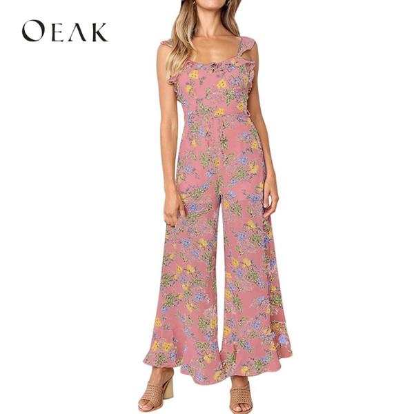 Oeak 2019 mujeres sin mangas con estampado floral sueltos mono con volantes  correa sin respaldo sexy 5b148867a59c