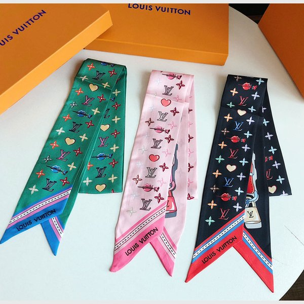 2019 brand fashion super soft high quality bowknot tie hairsilk double satin ribbon multi-functional fashion headscarf without box
