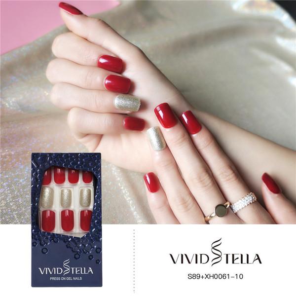 Нажмите на Блеск Красный Поддельные Ногтей С Дизайнами 30 ШТ. Полное Покрытие Обнаженные Короткие Девушки Ложные Советы Ногтей ABS DIY Женщины Искусство