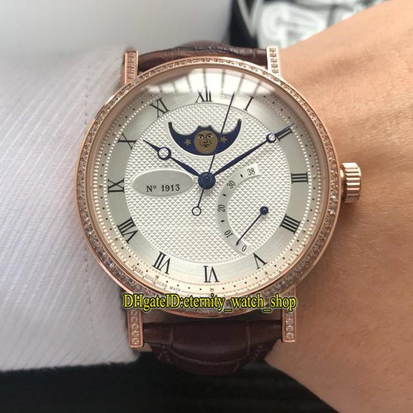 Luxry Classique 8788 8788BR/12/986/DD00 White Moon Phase Dial Automatic Mens Watch Rose Gold Diamonds Case Leather Strap Leisure Watches