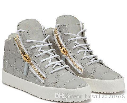 NEW zip Italy Designer Shoes Genuine Leather Casual Shoes Golden Zipper Men and Women high Top Sneakers Trainers