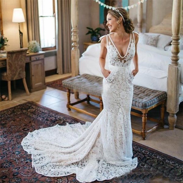 Best Selling Inbal Dror Lace Wedding Dresses Sexy Backless Deep V Neck Chapel Train with Pockets Summer Beach Bridal Dress