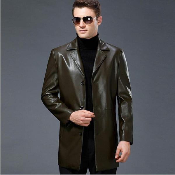 Großhandel 2019 Neue Männer Business Casual Mantel Plus Größe Echte Lederjacke Männlichen Langen Anzug Kragen Lederjacke Herren Schafe Haut Blazer