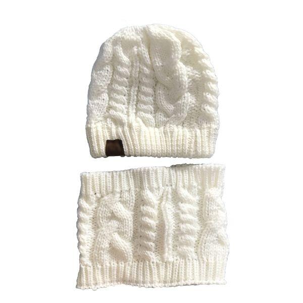 Inverno na moda chapéu cachecol de malha conjunto 7 cores rabo de cavalo chapéu de malha sem cartola boné de lã quente 3 conjuntos ePacket