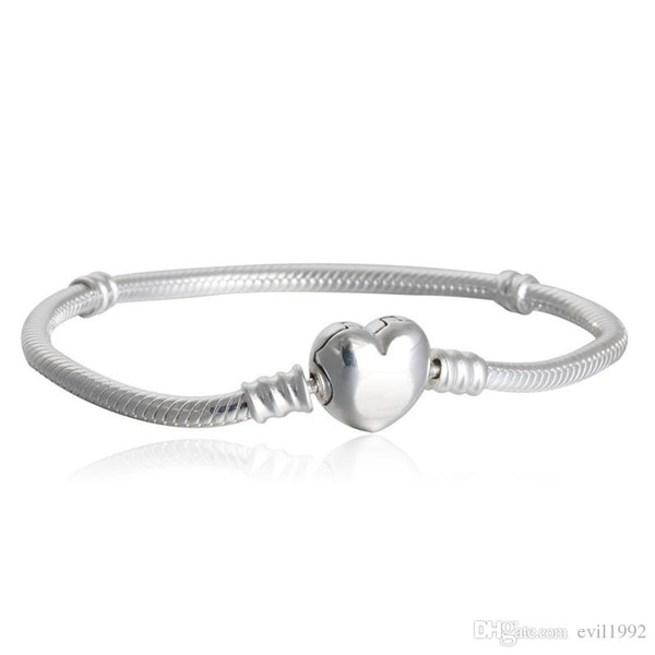 best selling 1pcs Drop Shipping Factory Silver Plated Heart Bracelets Snake Chain Fit for pandora Bangle Bracelet Women Children Gift B002