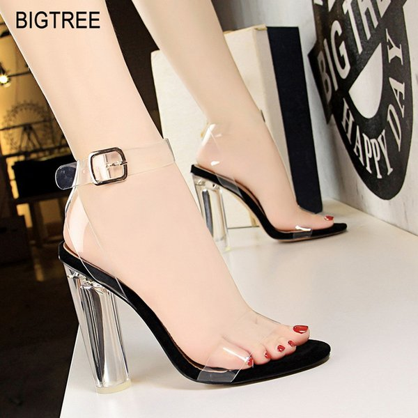BIGTREE Shoes Women Pumps Transparent Women Sandals High Heels Crystal Jelly Shoes Sexy Sandals Fashion Stiletto