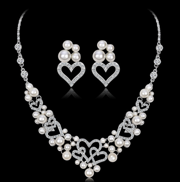 Dress Accessories Wedding Jewelry Sets for Women bridesmaid jewelry Set Silver Color Crystal Vintage Jewelry Set