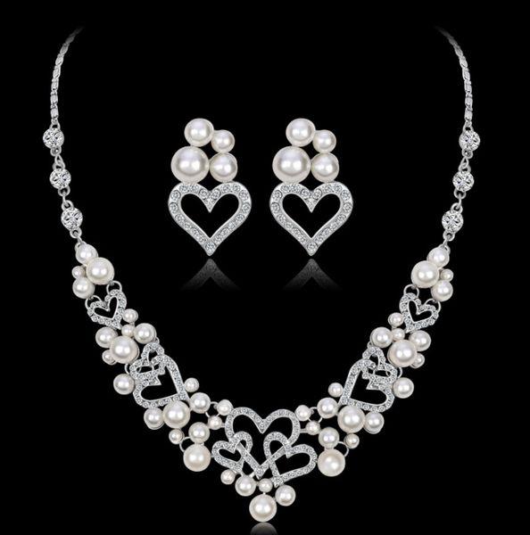 Acessórios vestido de casamento conjuntos de jóias para as mulheres da dama de honra conjunto de jóias de prata cor de cristal conjunto de jóias vintage