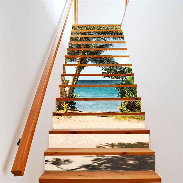 13pcs / Set Escalera Decoración pegatinas extraíble escalera creativo decoración autoadhesivo piso casero mural decorativo para dormitorio Salón