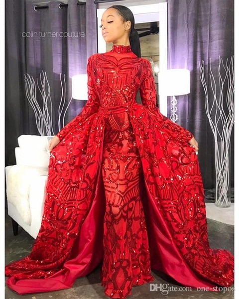 2019 Gorgeous Red Prom Dresses With Detachable Overskirts High Neck Lace Sequins Long Sleeves Modest Evening Gowns Party Wear