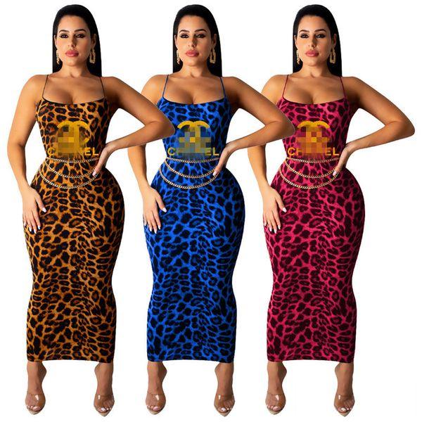 Mulheres Carta CHAL Vestido de Verão Gallus Vestidos de Impressão Leopardo Bodycon One-piece Saia Halter Vestido de Designer Vestido Clube Roupa Quente