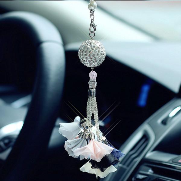 Auto di lusso sfera di cristallo di diamante per le automobili posteriore View Mirror Charms Ornaments Hanging decorazione d'interni auto a sospensione