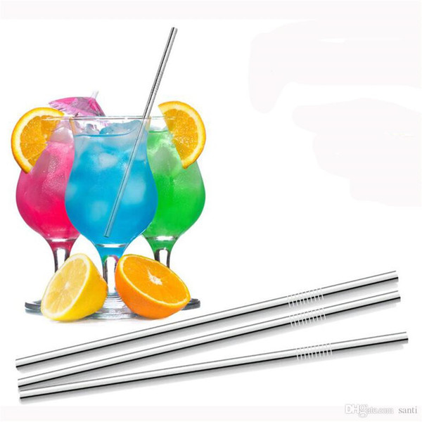 best selling Dining & Bar 26.5 cm 10.43 inch Stainless Steel Drinking Straw Straight Tea Coffee Tools Wedding Party Drinking Accessories
