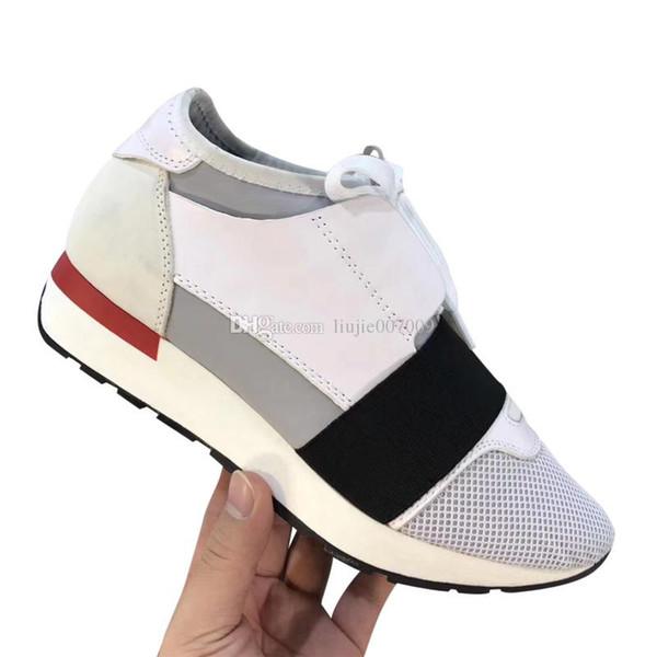 Commercio all'ingrosso Designer Shoes Uomo Donna casuale della scarpa da tennis rappezzatura di modo bianco rosso della maglia Trainer goccia dei pattini di spedizione Grandezza 35-46