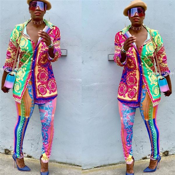 Femmes Casual Set Sportswear manches longues Chemise imprimé Tops + Pantalons Deux pièces de vêtements femmes tenues de la marque de mode costume