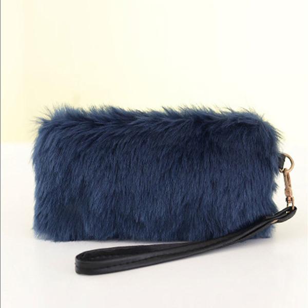 Fashion Handbag Faux Fur Clutch Bag Long Purse Wallet Bag Women Plush Handbags Tote Popular Fa$b Women Bag