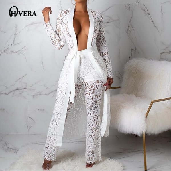 92edd13b1e83 Ohvera Lace Sexy Two Piece Set Long Cover Up And Wide Leg Pants 2 Piece Set  Women 2019 Summer Outfits