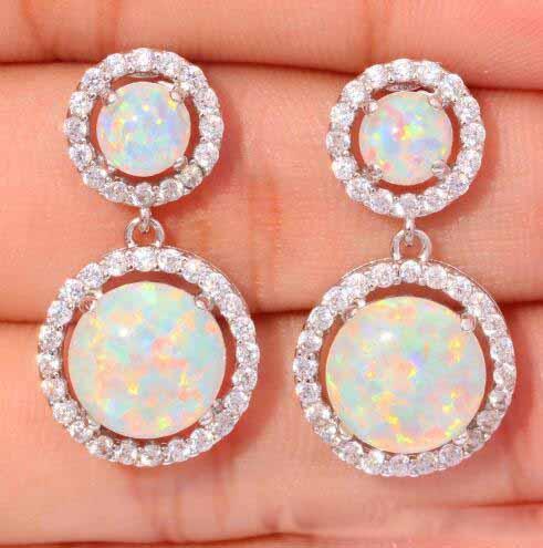 Round White Fire Opal Earrings For Women CZ Stone Silver Color Drop Earrings Wholesale Jewelry