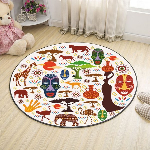 80CM Nordic Style Round Decor Pad Carpet Mat Coffee Table Cushion Computer Chair Bedroom Bedside Cartoon Floor Mats Home