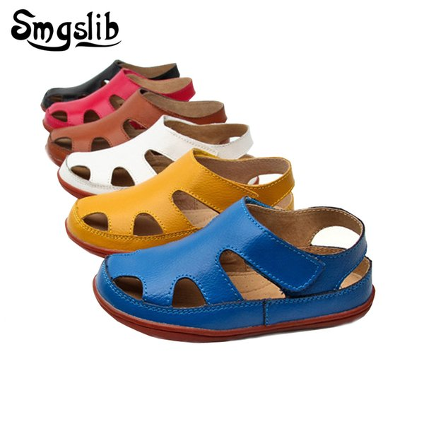 Size25-37 Genuine Leather Casual Kids Sandals 2018 Summer Toddler Boys Beach Shoes Flat Little Girls Gladiator Sandals Y19051303