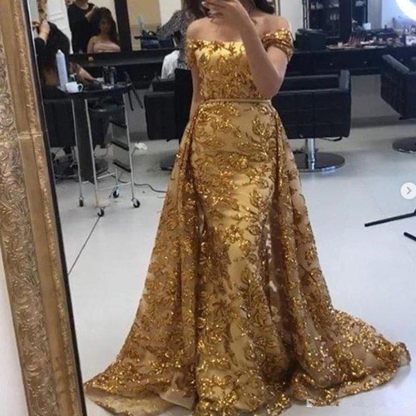 Sparkly Золото Вечерние платья 2020 Off плеча кружева Блестки Съемные Поезд Формальное партии платья выпускного вечера арабской