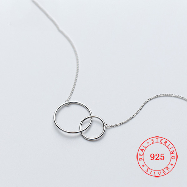 High Quality Sterling Silver Double Circle Interlock Clavicle Short Chain Necklace for Women collares China wholeslae fashion europe jewelry