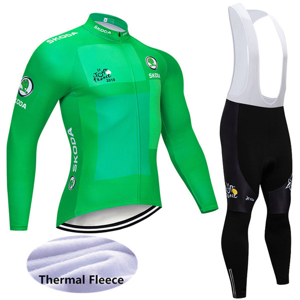 High Quality 2018 Tour de france Winter Thermal Fleece Men's Cycling Jersey suit long sleeve bike shirts Bicycle bib Pants Y011002