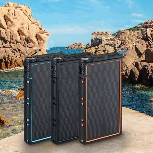 Waterproof Solar 20000mAh Power Bank External Battery Pack Charger Powerbank for Mobile Phones XIAOMI iPhone 7/8/X/ Charging