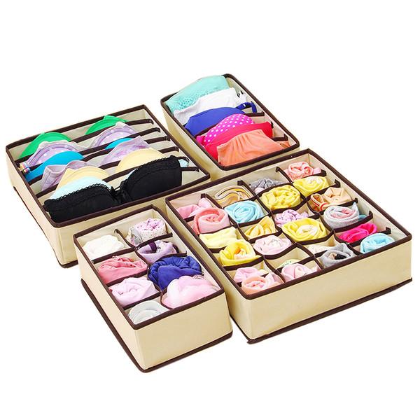 4Pcs/Set Bamboo Charcoal Closet Organizer Underwear Bras Socks Shorts Ties Wardrobe Drawer Divider Storage Box Organizador Case