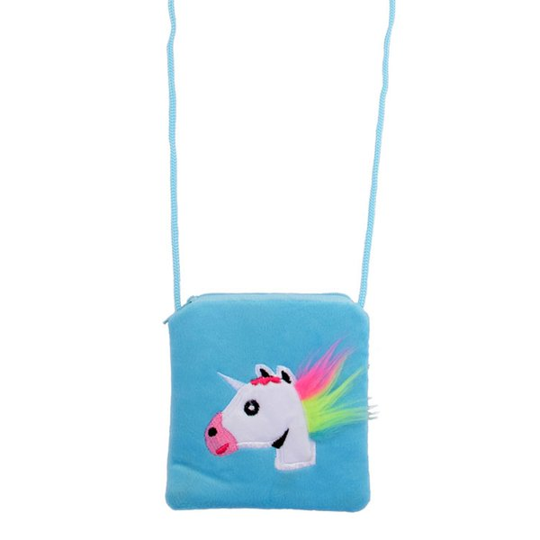 Unicorn Kids Coin Purse Cute Cartoon Messenger Bag Children Baby Zipper Pouch With Rope Cosmetic Bag Infantil Snack Bag Furry Pocket