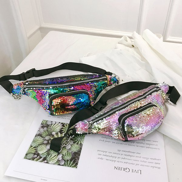 Free2019 Packet Paillette Season Chain Ins Exceed Fire Slanting Span Package Pocket Bag Woman Tide