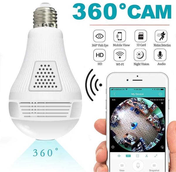 2019 свет водостотьким 960p 1080p беспроводной панорамный лампы камеры безопасности для 360° безопасности дома камеры системы беспроводной IP-3Д рыбий монитор лампочка камеры