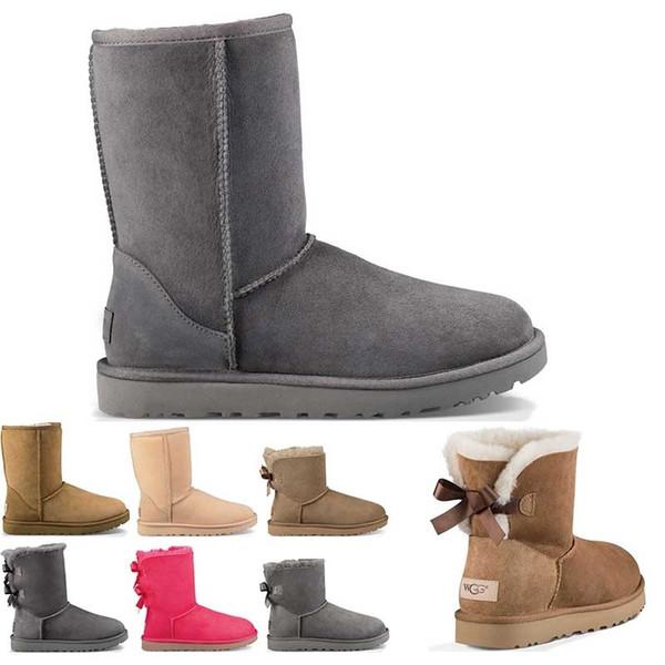 Высокого качество дизайнер Австралия женщины классических снегоступы лодыжки короткого лук ботинки мех для размера зимы каштана женщин зимней обуви 36-41