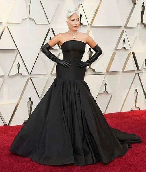 ed864e8f482 Lady Gaga elegant black Prom Dresses 2019 Modest Long sweep train Ruched  Satin mermaid evening dresses on 91st Oscar Red Carpet Party Wear