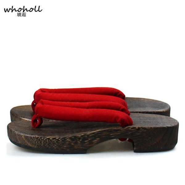 WHOHOLL Geta Japanese Style Wooden Slippers Women Sandals Flat Slippers Solid Red Black Thick Bottom Platform Sandals Flip-flops