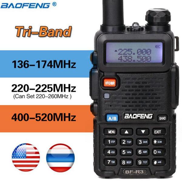 Baofeng BF-R3 Tri-Band Walkie Talkie 220-225MHz Jamón aficionado Portátil Radio portátil Comunicador Transmisor Transceptor de caza