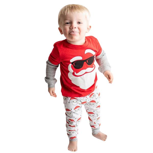 Neonate vestiti Kawaii di Natale Babbo Natale Stampa soft Pigiama pantaloni delle ragazze del bambino abbigliamento per bambini Outfits bambini Set