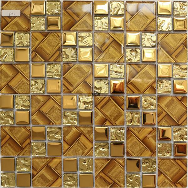 Желтое золото Кристаллического стеклянной мозаики кухни плинтус плитка JMFGT001 ванной стекло гальванического настенной плитки