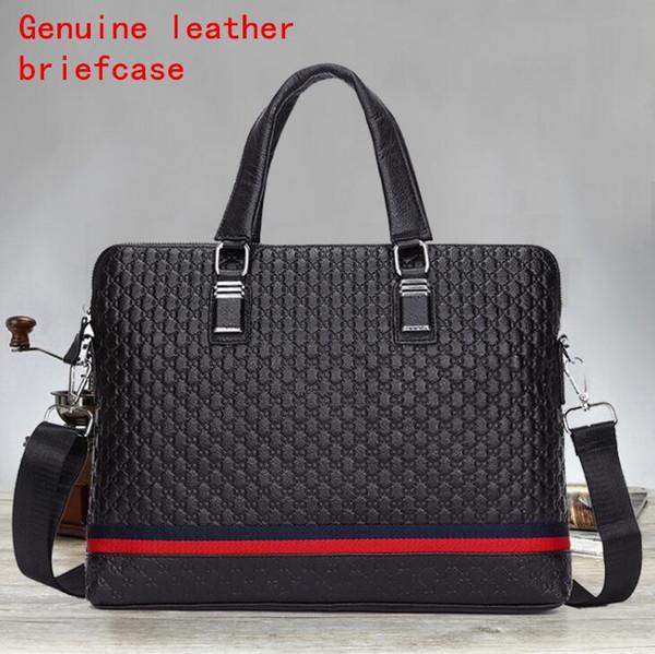 Factory independent brand men bag 3D solid leather business briefcase fashion cowhide men handbag silk ribbon splicing mens Handbag Shoulder