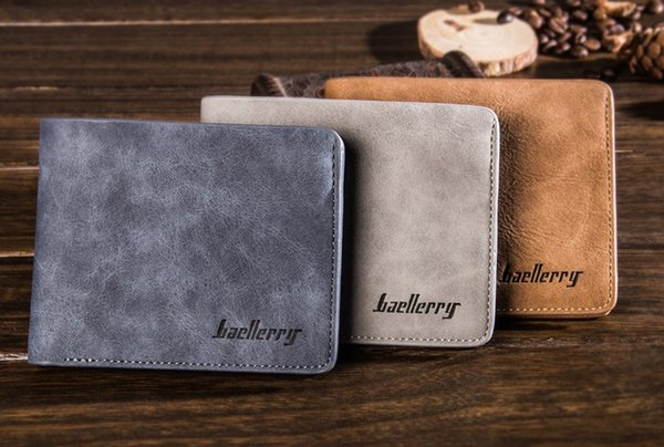 New mens short Horizontal type PU wallet Casual Style Open Card Holder Photo Holder Note Compartment BLR1152