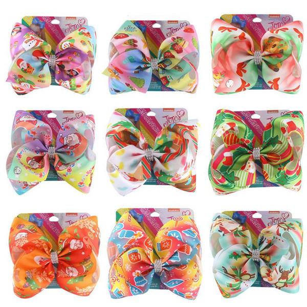 pelo ins Navidad jojo clips de Siwa niñas 8inch pelo arquea los barrettes niñas de dibujos animados bebé BB accesorios niños de diseño de clip para el cabello