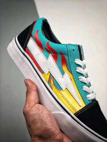 New Revenge x Storm Pop Old Skool Designer Cavnas Sneakers Womens Men Low Cut Skateboard Red Blue White Black Casual ShoesL26