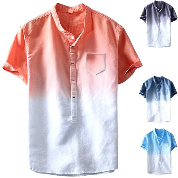 Degrade Erkek Tasarımcı Tişörtleri Ile Cep Kısa Kollu Ekip Boyun Erkek Tees Yaz Erkek Giyim